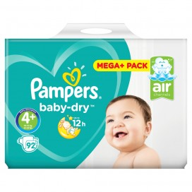 Pampers Baby-Dry Gr.4+ Maxi Plus 10-15kg Mega Plus Pack (92 STK)