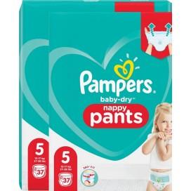 Pampers Baby-Dry PANTS Gr. 5 Junior 12-17kg Sparpack (2 x 37 STK)