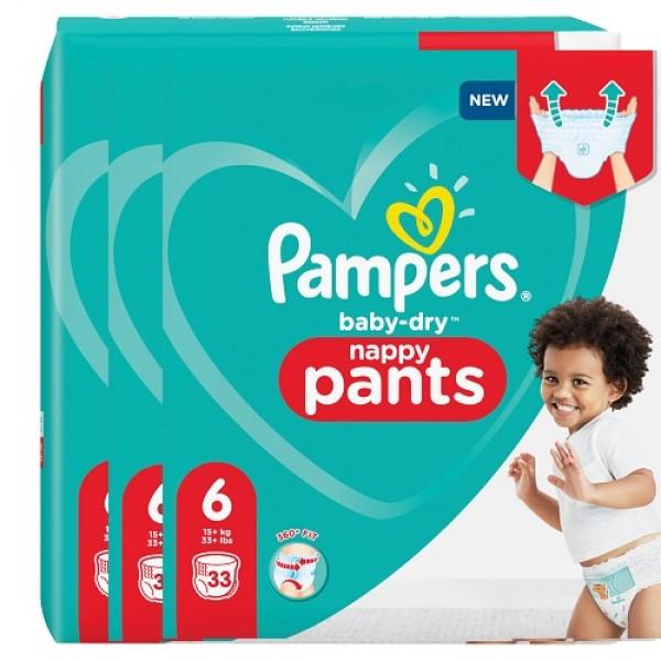 Pampers Baby-Dry PANTS Gr. 6 XL +15kg Sparpack (3 x 33 STK)