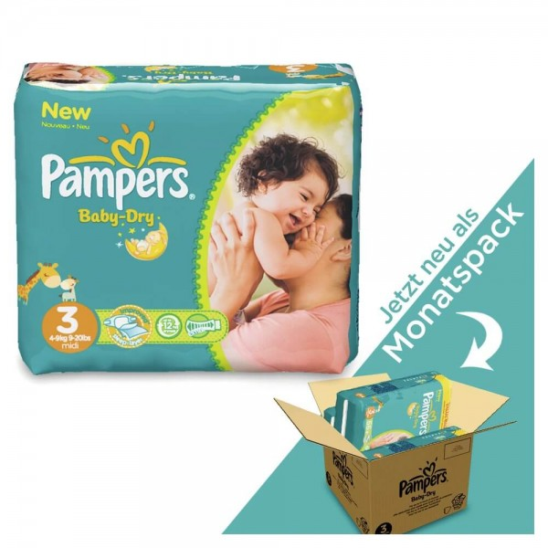 Pampers Baby-Dry Gr.3 Midi 6-10kg MONATSBOX (198 STK)