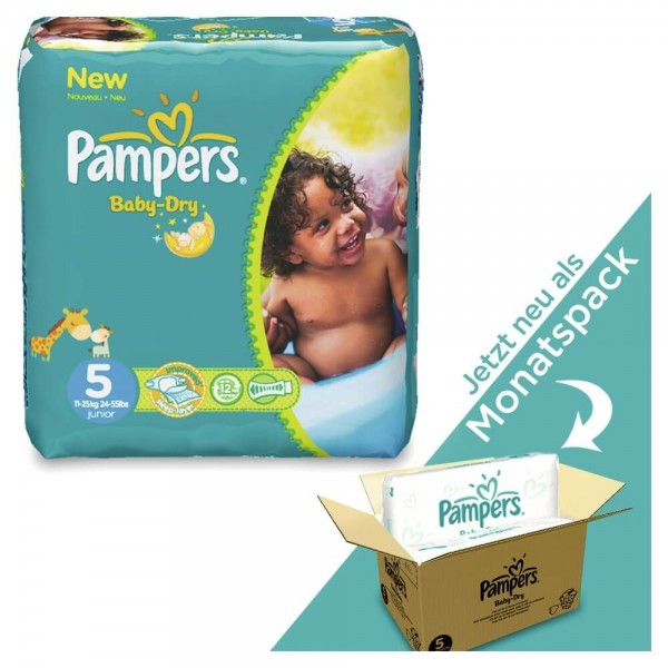 Pampers Baby-Dry T5 Junior 11-16kg Pack mensuel (144 pces)