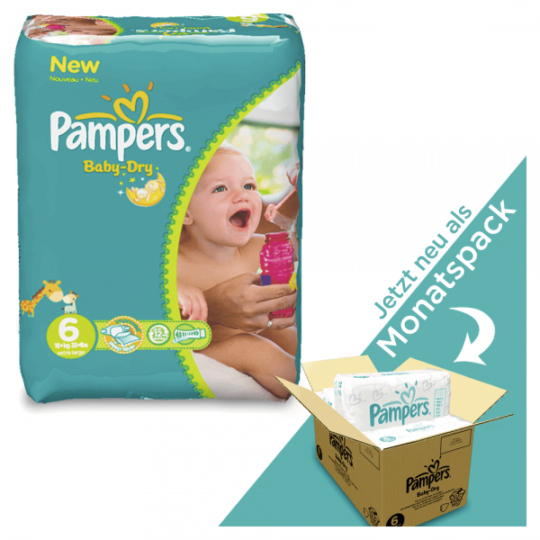 Pampers Baby-Dry Gr.6 Extra Large 13-18kg MONATSBOX (124 STK)