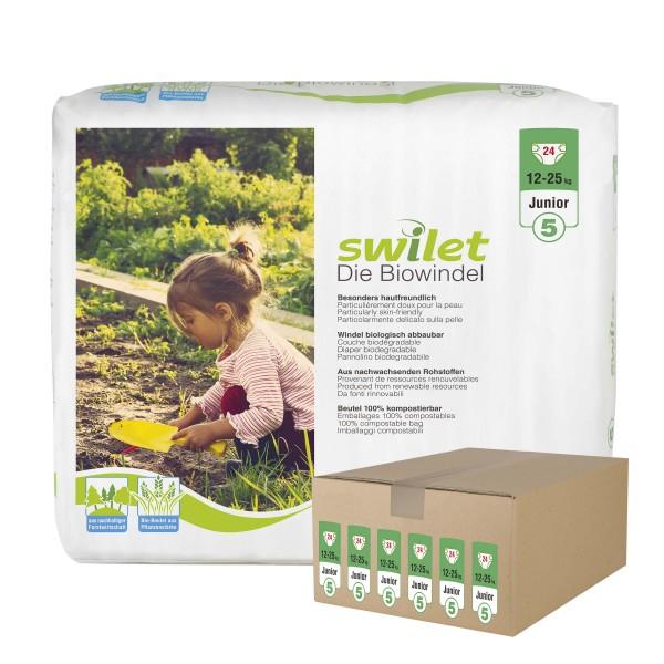 Swilet - Die Biowindel Gr.5 Junior (12-25kg) Karton (6 x 24 STK)
