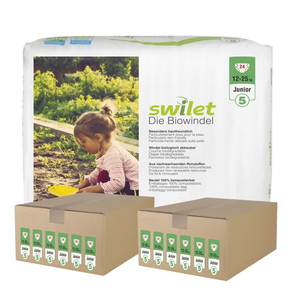 Swilet - Die Biowindel Gr.5 Junior (12-25kg) 2er Karton (12 x 24 STK)