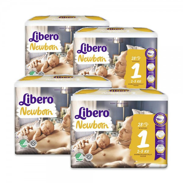 Libero Couches Comfort New Born (2-5 kg) Taille 1 (4 x 28 pces)