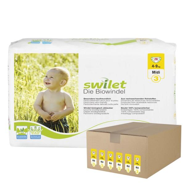 Swilet - Die Biowindel Gr.3 Midi (4-9kg) Karton (6 x 28 STK)