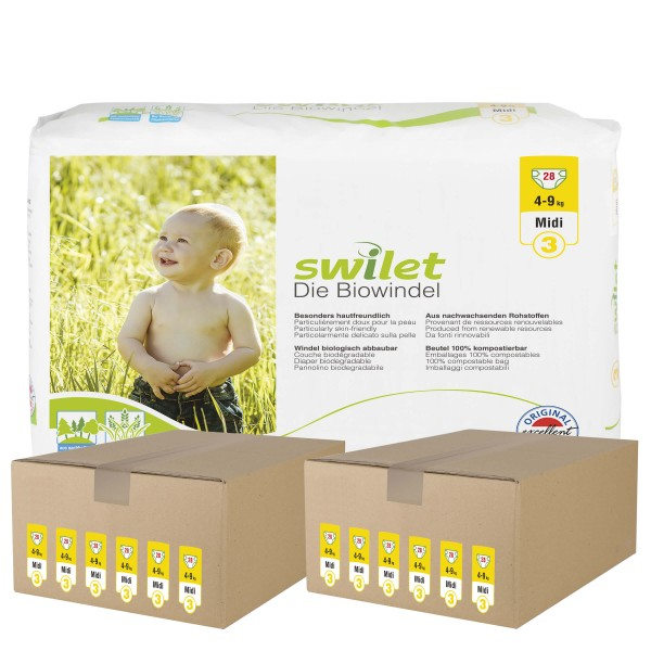 Swilet - Die Biowindel Gr.3 Midi (4-9kg) 2er Karton (12 x 28 STK)