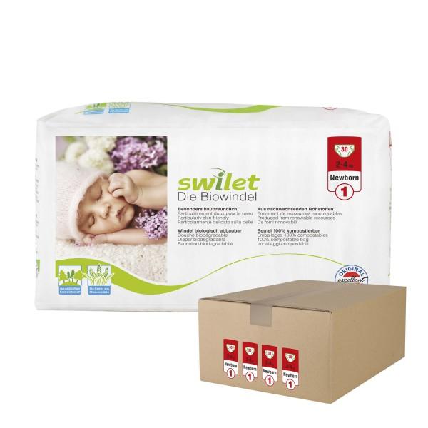 Swilet - Die Biowindel Gr.1 Newborn (2-4kg) Karton (4 x 30 STK)