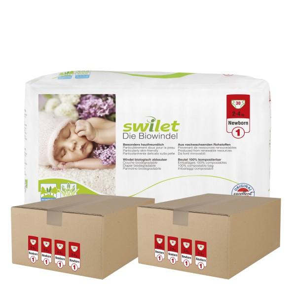 Swilet - Die Biowindel Gr.1 Newborn (2-4kg) 2er Karton (8 x 30 STK)