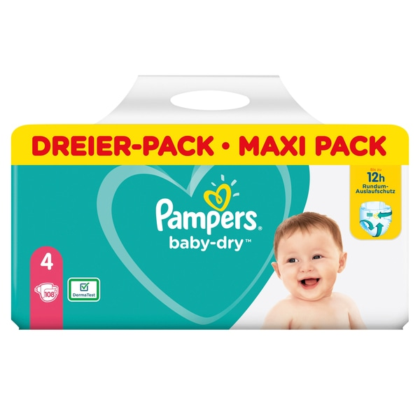 Pampers Baby-Dry Gr. 4 Maxi 9-14kg Dreier-Pack / Maxi Pack (108 STK)