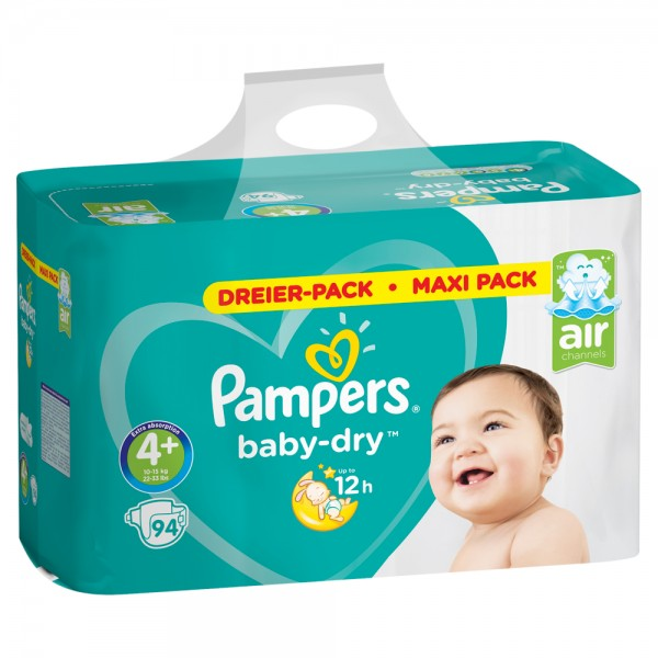 Pampers Baby-Dry Gr.4+ Maxi Plus 10-15kg Dreier-Pack / Maxi Pack (94 STK)