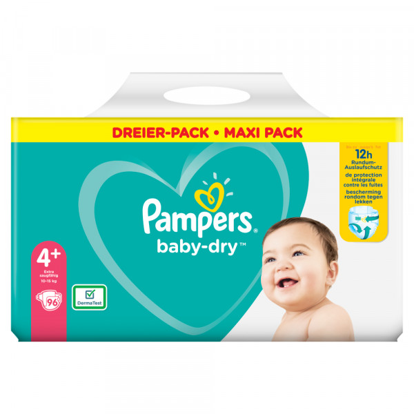 Pampers Baby-Dry Gr.4+ Maxi Plus 10-15kg Dreier-Pack / Maxi Pack (96 STK)