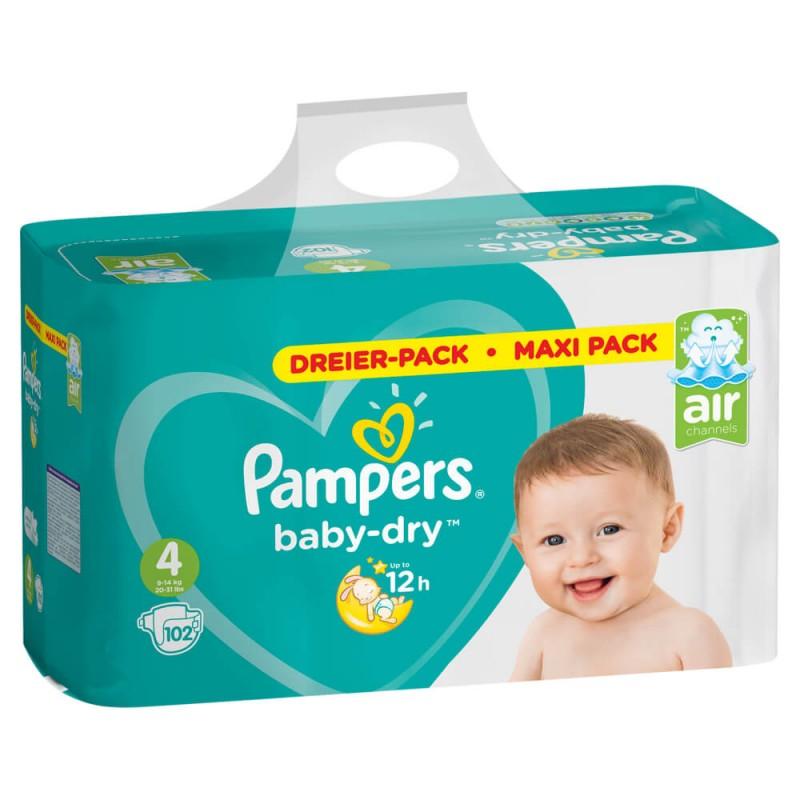 pampers baby dry gr 4 maxi 9 14 kg dreier pack maxi pack 102 stk online kaufen. Black Bedroom Furniture Sets. Home Design Ideas