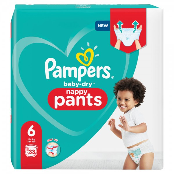 Pampers Baby-Dry PANTS Gr. 6 XL +15kg Beutel (33 STK)