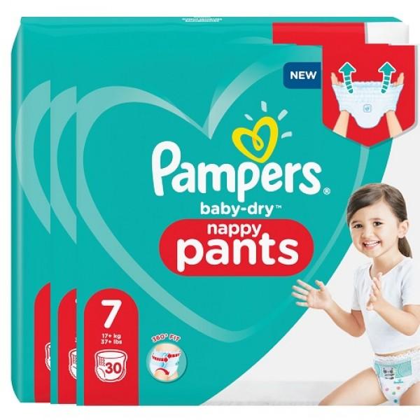 Pampers Baby-Dry PANTS Gr. 7 XXL +17kg Sparpack (3 x 30 STK)