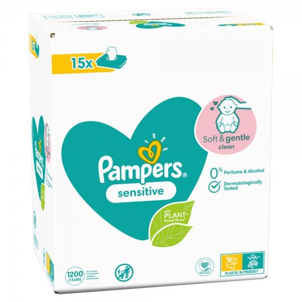Pampers Lingettes Humides Sensitive ECom (15 x 80 STK)