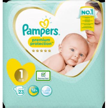 Pampers Premium Protection Gr.1 Newborn (2-5kg) Tragepack (23 STK)