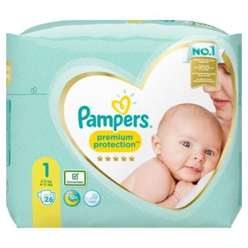 Pampers Premium Protection Gr.1 Newborn (2-5kg) Tragepack (26 STK)
