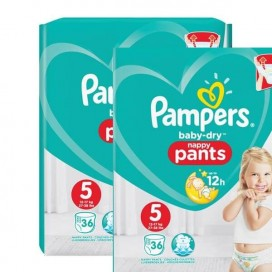 Pampers Baby-Dry PANTS Gr. 5 Junior 12-17kg Sparpack (2 x 36 STK)