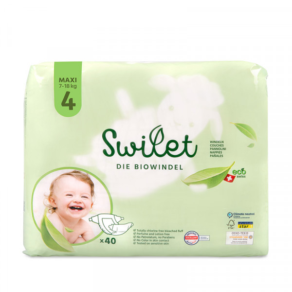 Swilet - Die Biowindel Gr. 4 Maxi 7-18Kg (12x 40 STK) 2erKarton