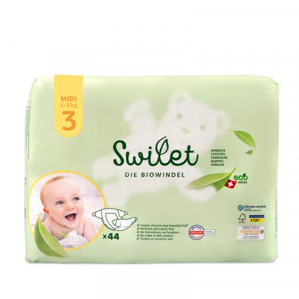 Swilet - Die Biowindel Gr. 3 Midi 5-9Kg (6x 44 STK) Karton