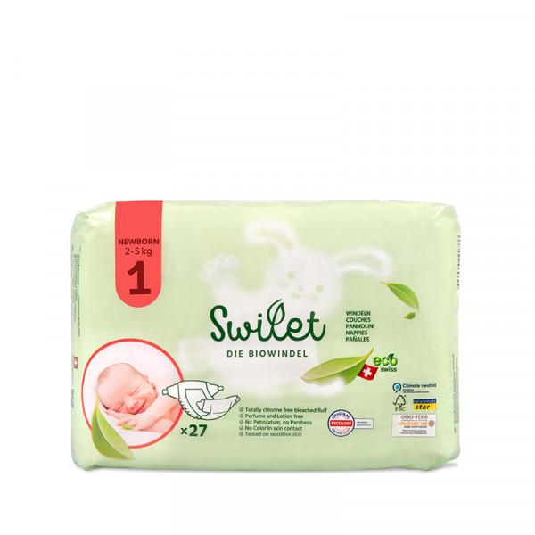 Swilet - Die Biowindel Gr. 1 Newborn 2-5Kg (27 STK) Beutel
