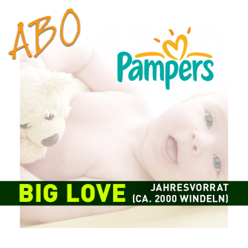 Windelabo PAMPERS BIG LOVE- JAHRESBEDARF | 20 Karton (ca. 2000 Stk.)