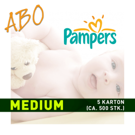 Windelabo PAMPERS MEDIUM - MITTEL | 5 Karton (ca. 500 Stk.)