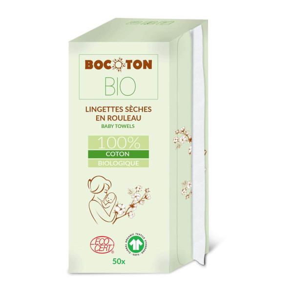 Bocoton Bio Baby-Wischtücher Trocken (50 STK / Rolle)