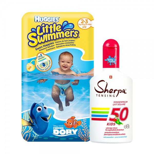 Sommer-Aktion: Huggies Schwimm-Windeln Grösse 2-3 & KIDS Sonnenmilch SPF 50 (175ml)