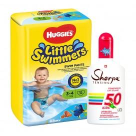 Huggies-Paquet: Couches pour la piscine marque Huggies Taille 3-4 & KIDS Lait de Soleil  SPF 50 (175ml)