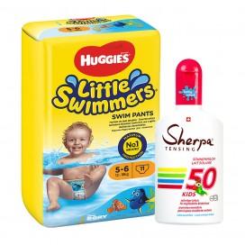 Huggies-Paquet: Couches pour la piscine marque Huggies Taille 5-6 & KIDS Lait de Soleil SPF 50 (175ml)