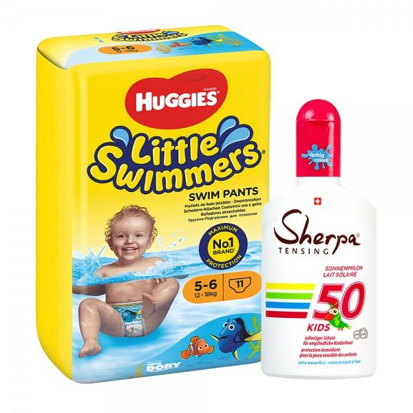 Sommer-Aktion: Huggies Schwimm-Windeln Grösse 5-6 & KIDS Sonnenmilch SPF 50 (175ml)